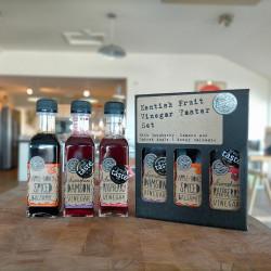 Kentish Fruit Vinegar Taster Set – 3-Pack 100ml Vinegar Assortment with Damson, Raspberry, Spiced Apple and Honey Balsamic