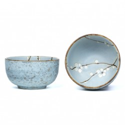 Plum Flower Design Blue Bowl Set