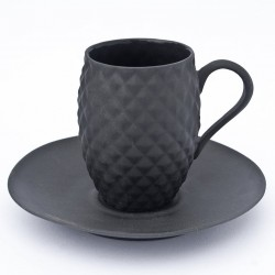 Black Porcelain Pineapple Cup and Saucer