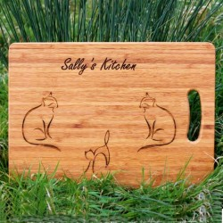 Three Cats Personalised Chopping Board