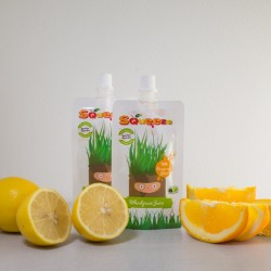 Squeeze Wheatgrass with Orange and Lemon Juice