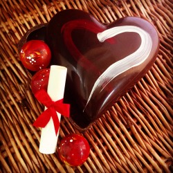 Valentines Chocolate Heart with Raspberry Chocolates and a Personalised Message