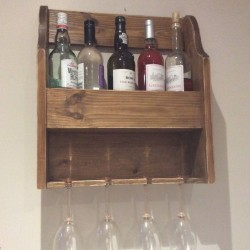 Vintage style wine and glass rack