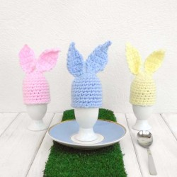 Hand Crocheted Easter Bunny Egg Cosy and Egg Cup