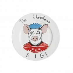 Christmas Pig Side Plate