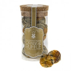 Orange Ruffle Giant Flowering Tea Bulbs (Elegant Glass Canister)