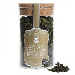 Yellow Treasure Green Oolong with Osmanthus Flowers (Elegant Glass Canister)