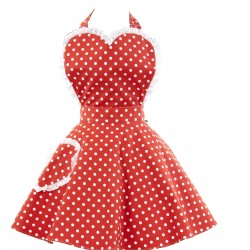 Deliciously Dotty Retro Red Sweetheart Adult Apron