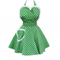 Deliciously Dotty Kelly Green Sweetheart Adult Apron