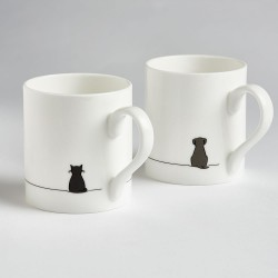 Sitting Cat and Sitting Dog Mugs - Set of Two