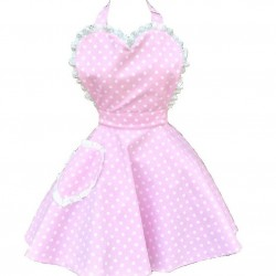 Deliciously Dotty Soft Pink Sweetheart Adult Apron