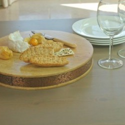 Round Wooden Cheese Board with Copper Banding
