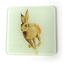 Hugo Hare Glass Coasters (set of 2) - Father's Day Gift