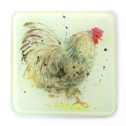 Glass Coasters (set of 2) - Cockerel