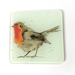 Robin Glass Coasters (set of 2) - Christmas Gift - Stocking Filler - Made in England
