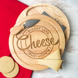 'I Bloody Love Cheese' Engraved Cheese Board- Gift Set With Knives
