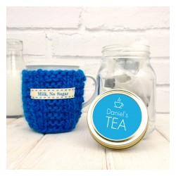 Personalised Mug Cosy And Tea Jar Gift Set