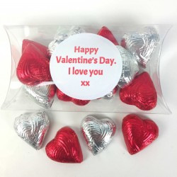 Personalised Pack of 12 Foiled Handmade Chocolate Hearts