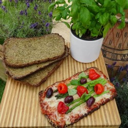 Gluten Free Vegan Italian Herb Cauliflower Pizza Base with our amazing pizza sauce