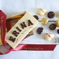 Personalised Name Card & Assorted Luxury Organic Chocolate Box (Soya & Gluten Free)