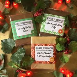 Christmas Fudge Trio - Christmas Pudding Fudge, Brandy Butter Fudge and White Chocolate & Orange Fudge
