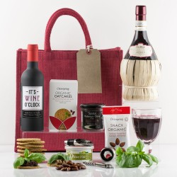 Luxury Red Wine & Snacks Gift Bag - Chianti Italian Wine in a Basket