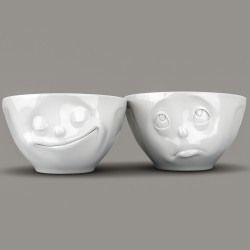 Set of Two White Porcelain Bowls with Happy & Oh Please expressions