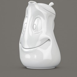 White Porcelain Tea Pot with a 'Good Mood' face