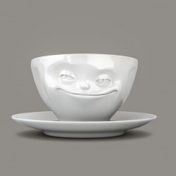 Coffee Cup and Saucer 'Grinning' in White Porcelain