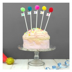Personalised Pom Pom Cake Toppers