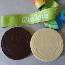 Personalised Christmas Gift Organic Rio Olympic White Chocolate Medals (Soya & Gluten Free)