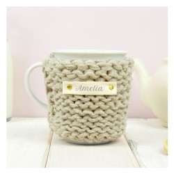 Personalised Knitted Glitter Mug Cosy