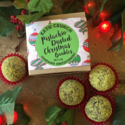 12 Pistachio Dusted Christmas Baubles Fudgy Balls