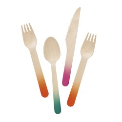 Wooden Party Cutlery - Multi Coloured