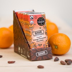 Orange Raw Chocolate Bar Box - Organic, Fairtrade (10 bars)