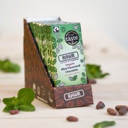 Raw Mint Chocolate Bar Box - Organic, Fairtrade (10 bars)