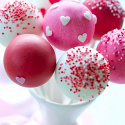 Valentine's Cake Pops with Hearts and Sprinkles (Set of 10)