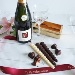 Personalised Luxury Organic Chocolate Love Sticks & White/ Pink Champagne Gift Box (Soya & Gluten Free)