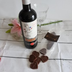 Vegan Organic Chocolate Love Hearts & Red Wine Gift Box (Soya & Gluten Free)