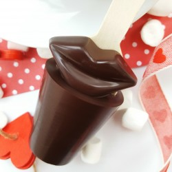 Two 70% Cocoa Dark Chocolate Lips Hot Chocolate Stirrer