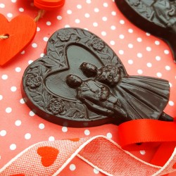 Two 70% Cocoa Dark Chocolate Bride & Groom Lollipops