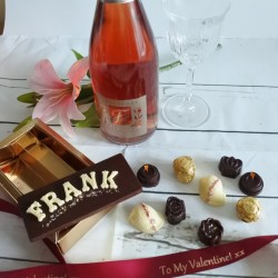 Personalised Luxury Organic Chocolate Name Card, Assorted Box & Pink Champagne Gift Box (Soya & Gluten Free)