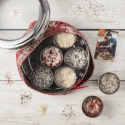 Spice Kitchen Flavoured Sea Salts Collection with 7 Flavoured Salts & Handmade Silk Sari Wrap