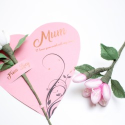 Personalised Heart Card With Chocolate Flower