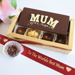 Mothers Day Chocolate Card & Assorted Luxury Organic Chocolate Box (Soya & Gluten Free)