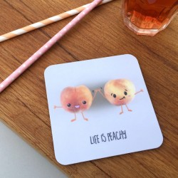 Life is Peachy & Donut Worry Pair of Coasters