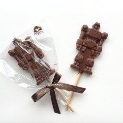 Three Dairy Free Alternative to Milk Chocolate Robot Lollies