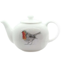 Robin Teapot - Christmas - Fine Bone China, Made in England