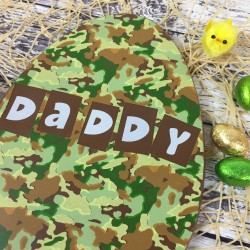 Large Flat Milk Chocolate Easter Egg with Camouflage Design