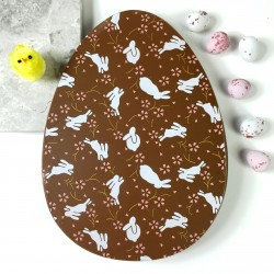 Large Flat Milk Chocolate Egg with White Rabbits